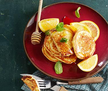 American pancakes met sinaasappel