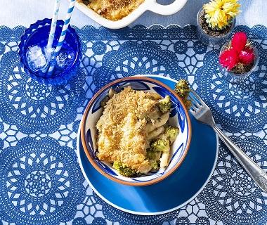 Romige ovenschotel met broccoli en tonijn