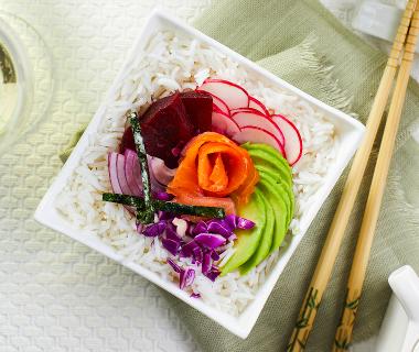 Roze mini poké bowl