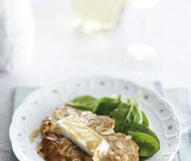 Schnitzel met camembert, honing en witte wijn