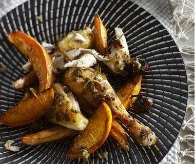 Geroosterde kip met sinaasappel en zoete aardappel