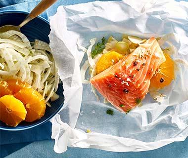 Zalmpakketje met venkel en sinaasappel