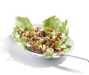 Krieltjessalade met kruiden en spekjes