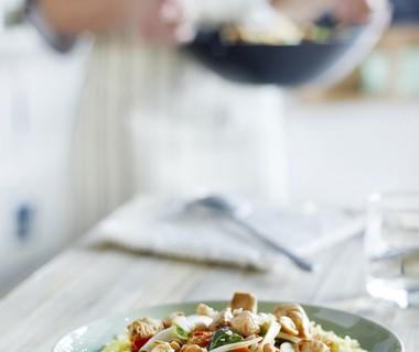 Kip met kerrierijst en groenten